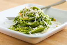 Kale Pesto with Vegetable Noodles | GI 365 (Leave out the cheese and it is raw and vegan)