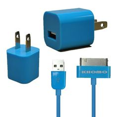 Blue KHOMO Blue Color USB Power Adapter Charger + 6ft EXTRA LONG Blue USB SYNC Cord Cable for Apple iPhone 3G 4G iPod Nano iPod Touch