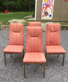 4 VTG MCM 1970s High Back DINING CHAIRS . Antique ShopsMilo BaughmanTuxedoDining  ...