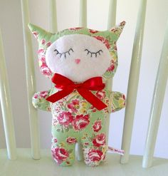 Green Rose Paisley Retro Cat Soft Toy, a Sleepy Kitten in Vintage Style Fabric £12.50