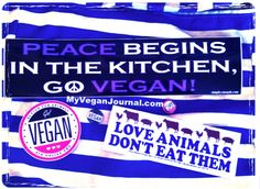 Bumper Stickers & Buttons from Worldfest! Lots more vegan stuff posted on the #MyVeganJournal facebook page! Hundreds of pics! <3
