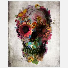 Floral Skull Print by Ali Gulec  Pretty flowers+macabre=perfect!