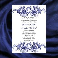 Victorian Wedding Invitation & RSVP  Vintage Wedding Invitation - Price Includes Matching Envelopes and Printed Return Address - Design 2