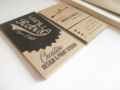 VanillaRetro Kraft Eco-friendly Business Cards, #branding #graphicdesign