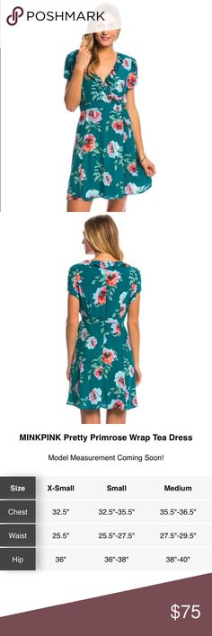 "MinkPink primrose floral wrap tea dress Teal blue PRODUCT DETAILS Brand Summer is in bloom and this Pretty Primrose Wrap Tea Dress is ready. The wrap design ensures you're covered while the gorgeous floral print and ruffle trim shows off your feminine side.  Fabric & Care Hand wash cold. Lay flat to dry. 100% Viscose. Details Faux wrap style dress. Allover floral print. V-neckline with ruffle trim. Tie detail at waist. Capped sleeves. Hidden back zipper. Fully lined. Sizing & Fit 33"" length…"