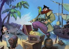 Hog Heaven- The Art of Todd Harris Pirate Art, Pirate Life, Character Design References, 3d Character, Buried Treasure, Les Themes, Illustrations, Cool Drawings, Line Art