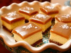 Salted Caramel Cheesecake Squares  NOTE: Use graham crackers instead of vanilla…
