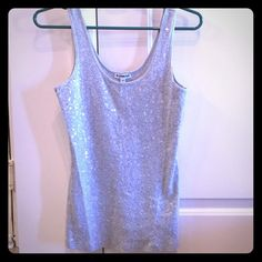 Sequined Express Tank Grey tank with full sequins covering front. Nice for the holidays! Express  Tops Tank Tops