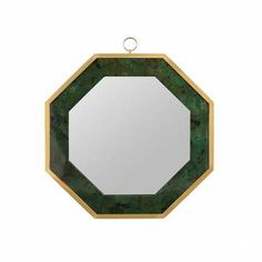 Octagonal Emerald Green Penshell Inlaid Mirror Dyed Emerald Green Penshell with Brass Trim