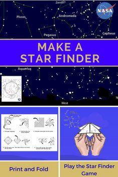 "Make a Star Finder -- Fold a printable sky map like a paper ""fortune teller"" to find your way around the night sky. Download a new star finder each month to see which constellations are overhead. STEM activities. #Finder #Fold #Printable #Star Constellation Activities, Constellation Craft, Space Activities For Kids, Science Activities, Space Crafts For Kids, Astronomy Quotes, Astronomy Crafts, Astronomy Tattoo, Astronomy Pictures"