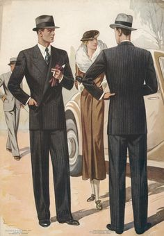 Pinstripe Suits by Jean Darroux on Ursus Books, Ltd 1940s Mens Fashion, Retro Fashion, Vintage Fashion, Vintage Gentleman, Vintage Men, Patron Vintage, Pinstripe Suit, Fashion History, Vintage Outfits