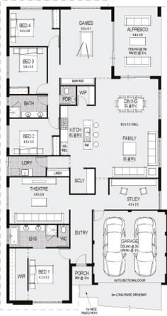 The Florence floorplan Split theatre in craft and display House Layout Plans, Family House Plans, Dream House Plans, Small House Plans, House Layouts, House Floor Plans, Building Plans, Building A House, House Plans Australia