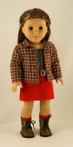 18 Doll Clothes fits American Girl Doll Plaid by Forever18Inches. Here's another good outfit for Valentine's Day :) Skirt variations pattern available at http://www.pixiefaire.com/products/classic-skirt-bundle-18-doll-clothes