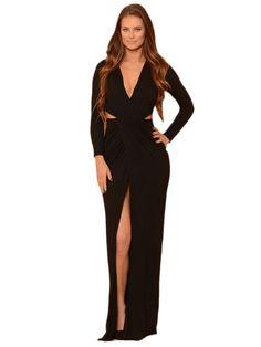 Black Long Sleeve V Neck Floor-length Jersey Dress https://www.modeshe.com #modeshe @modeshe #Black