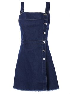 Button Down Denim Mini Pinafore Dress Denim Fashion, Teen Fashion, Korean Fashion, Cheap Fashion, Denim Dresses Online, Fashion Dresses, Jw Moda, Blue Denim Dress, Womens Denim Dress