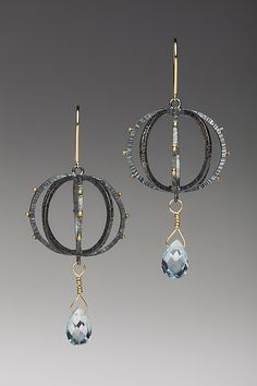 Round Lantern Earrings by Anna Tai: Gold, Silver, & Stone Earrings available at www.artfulhome.com. 450.00