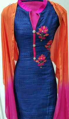 Machine Embroidered Dupian Silk Suit in Dark Blue and Pink Color With Dupatta