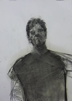 "christos tsimaris; Charcoal, 2011, Drawing ""looking down on me"""