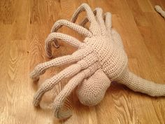 Here is a crochet pattern for a life-sized Facehugger, as seen in the horrifying Alien series of movies!