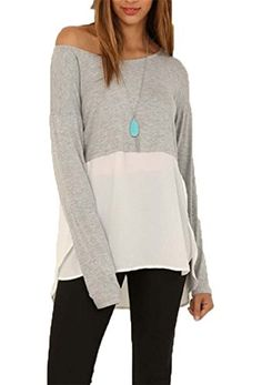 Dreagal Womens Chiffon Color Block Sheer Blouse Grey And White Xlarge * Check out this great product.Note:It is affiliate link to Amazon.