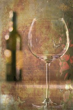 Mixed Media Photo Collage Print of Wine Glass and Wine Bottle Entitled Romance - 8 X 12
