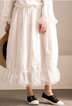 White Joining together Elastic Waist Chiffon linen Skirt Women Clothes - FantasyLinen Linen Skirt, Linen Dresses, Maxi Dresses, Coats For Women, Clothes For Women, Overall, Casual Dresses For Women, Casual Clothes, Fashion Design