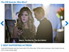 Arrow's Emily Bett Rickards wins Best Supporting Actress in TV Fanatic's 2014 CW Awards (posted June 6, 2014).  Runner up/2nd place nods were given to David Ramsey for Best Supporting Actor and Arrow, whose 20% of the (9K votes cast) put it in a super close race for Best Series, but ultimately placed it 3rd by a very slim margin. <<<< Can I just say it was  WELL EARNED. :)