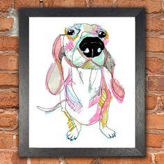 Sausage Dog limited edition giclee print  #GiftsforHer #Giftideasforher #home #interiors #design #dosg #sausagedog #sausagedogs #love #illustration #art #weddinggiftideas #wallart #limitededition