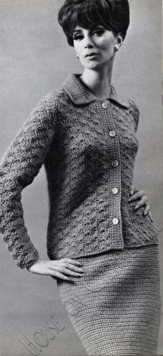 mod crochet skirt and cardigan pattern