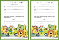 Printable Animal Party Invitations
