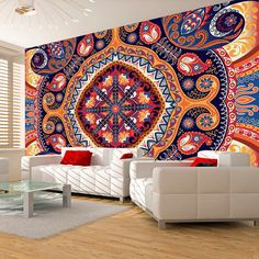 """Add some classy chic bohemian style with this large wallpaper mural """" Exotic mosaic """" transform your Room into something fabulous! This wallpaper mural will give off the wow factor in any room or workplace. 3d Design, Wall Design, Mandala Mural, 3d Wallpaper Mural, Mosaic Wallpaper, Photo Wallpaper, Modern Wallpaper Designs, Wall Stencil Patterns, Room Decor"""