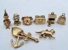 VINTAGE-14k-GOLD-HOPE-CHEST-CHARM-4-CHARM-BRACELET-3D-MOVER-1960s-CHARM