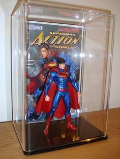 Premium Collectable Display Case: New 52 Superman Metallic Variant Action Figure & Action Comics #1 Jim Lee Variant Comic Book