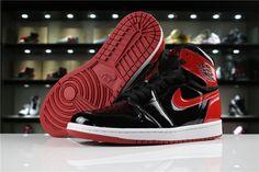 """2018 Air Jordan 1 High OG NRG Patent Leather """"Banned"""" Black White-University  Red 861428-061 60941ab27"""