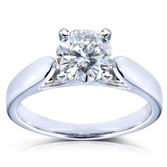 Round Moissanite Solitaire Engagement Ring 1 CTW 14k White Gold >>> Click image to review more details. (This is an affiliate link and I receive a commission for the sales)