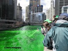 The Green Chicago River on St. Patrick's Day in Streeterville.
