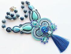 soutache necklace, boho tassel necklace, mint periwinkle pendant, ooak necklace, blue necklace, soutache pendant, collana, collar, collier