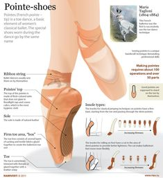 classic ballet shoes images to show some pointers and main parts of the average pointe shoe