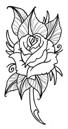 Easy Flower Drawings, Easy Drawings, Drawing Flowers, Painting Flowers, Tattoo Drawings, Neo Traditional Roses, Rose Drawing Simple, Coloring Books, Coloring Pages