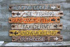 Hunting Lodge Ice Fishing Guns Ammo Beer  Rustic Distressed Wood Sign Set Hunter by TheUnpolishedBarn