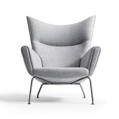 """Discover the Wing Chair by Danish midcentury designer Hans Wegner, a classic modern chair with timeless appeal, named for its trademark """"wings,"""" with outstanding support and roomy lounge seat. Shop the Wegner wingback chair. Chair Design, Furniture Design, Space Furniture, Poltrona Design, Hans Wegner, Deco Design, Design Trends, Mid Century Furniture, Bauhaus Furniture"""