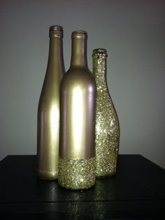 Gold Glittered Wine Bottles by SouthernlyCrafted on Etsy, $20.00