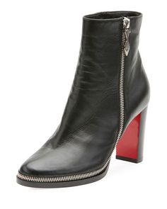 CHRISTIAN LOUBOUTIN TELEZIP CRINKLED RED SOLE ANKLE BOOT. #christianlouboutin #shoes #