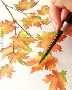 Quick process video from the autumn leaves post last week! Working wet-on-dry for this one 🙂, which means I'm putting paint straight onto… Watercolor Leaves, Watercolor Sketch, Watercolor Artists, Watercolor Landscape, Watercolor Paintings, Watercolour Tutorials, Watercolor Techniques, Autumn Art, Autumn Leaves