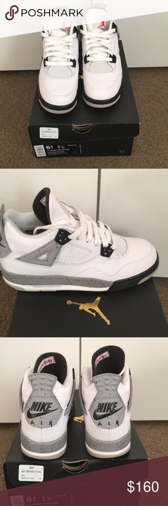 Jordan cement 4's Size 6.5y I usually wear a 8 and 8.5 in women sneakers Worn once Only flaws are the black specs from wearing black socks  *******check out my other listings*****  Tags: Missguided, boohoo, nasty gal, h&m, Charlotte Russe,  forever 21, asos, Hollister, American eagle, Abercrombie, old navy, gap, Aeropostale, agaci, love culture, Miami styles, fashion nova Jordan Shoes Athletic Shoes