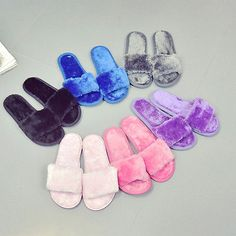Summer Women Fur Fuzzy Slippers Slides Mules Ladies Open Toe Sandals Flat Shoes