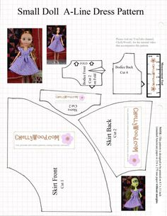 Doll clothes patterns tiny new ideas Barbie Sewing Patterns, Doll Dress Patterns, Sewing Patterns Free, Clothing Patterns, Free Pattern, Barbie Clothes, Diy Clothes, Bodice Pattern, Sleeve Pattern