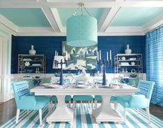 Mabley Handler Dining Room at the Hampton Designer Showhouse, featuring Jonathan Adler for Kravet fabric and Kravet Modern Dining dining table.