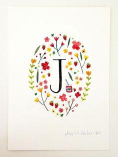 Monogram Letter J floral art print by AmeliaHerbertson on Etsy