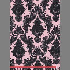 Black & Pink Heirloom Velvet Flocked Wallcovering design by Burke Decor Silver Sequin Wallpaper, Pink Damask Wallpaper, Flock Wallpaper, Pattern Wallpaper, Velvet Wallpaper, Wallpaper Ceiling, Textured Wallpaper, Pink Velvet, Black Velvet